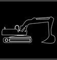 excavator white color path icon vector image