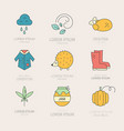 fall icons collection vector image