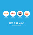 flat icon sushi set of oriental seafood eating vector image vector image