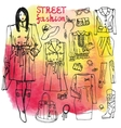 Girl and street fashion clothing setSketchy on vector image vector image