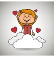 girl cloud heart love vector image