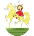 girl riding a horse vector image vector image