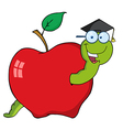 Graduate Cartoon Worm In Apple vector image vector image