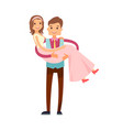 groom carrying bride poster vector image vector image