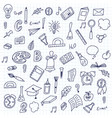 hand drawn doodle school objects concept of vector image vector image