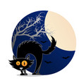 haunted cat under the moon vector image