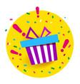holiday gift box in yellow circle birthday vector image