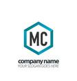 initial letter mc hexagon box creative logo black vector image vector image
