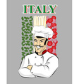 Italian chef Chef cook and flag of Italy Green vector image