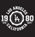los angeles california typography for t-shirt vector image vector image
