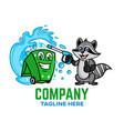 modern trash can with raccoon logo vector image vector image