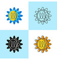 norovirus cell icon set in flat and line style vector image vector image