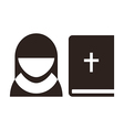 Nun and bible icon vector image