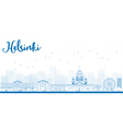 Outline Panorama of Old Town in Helsinki vector image vector image