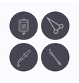 Pipette blood donation and scalpel icons vector image vector image