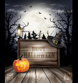 scary halloween background with pumpkin and vector image vector image