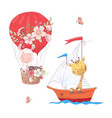 set cartoon cute llama balloon and giraffe on vector image