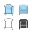 Set of colorfull and silhouette armchairs vector image vector image