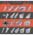 Set of metallurgy icons metal working tools steel vector image vector image