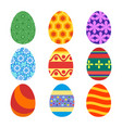 set of painted easter eggs for the holiday vector image vector image