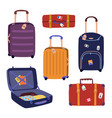 set with travel luggage bags suitcases trendy vector image vector image