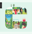 simple things - forest set composition on a mint vector image vector image