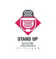 stand up show logo design comedy club sign with vector image vector image