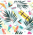 summer time seamless pattern with colorful beach vector image