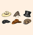 summer vintage hats collection for elegant men vector image vector image