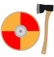 Viking shield and axe vector image vector image