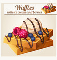 waffles with ice cream and berries detailed vector image