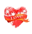 Watercolor heart with ribbon vector image vector image