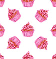 Watercolor tasty cupcake in vintage style vector image vector image