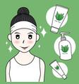 woman with aloe vera skin care vector image