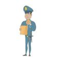 young hispanic police officer eating hamburger vector image vector image