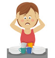 young woman behind a sink filled with dirty plates vector image