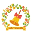 back to school bell and autumn leavs vector image