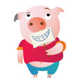 a tired pig is pretending holding a fake smile vector image vector image