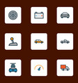 auto icons colored line set with battery wheel vector image vector image