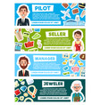 banners for professions occupation vector image vector image