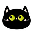 black cat round head face icon green eyes pink vector image vector image