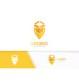 box and map pointer logo combination vector image