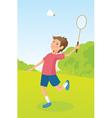 Boy playing badminton vector image
