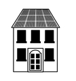 building with panel solar silhouette isolated icon vector image vector image