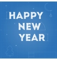 Card of New Year blueprint drawing vector image vector image