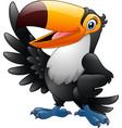 cartoon funny toucan waving wing vector image vector image