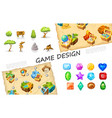 cartoon game elements collection vector image vector image