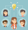 caucasian business women discussing business idea vector image vector image