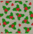 christmas background holly berry with green vector image vector image