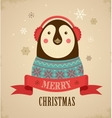 Christmas background with hipster penguin vector image vector image